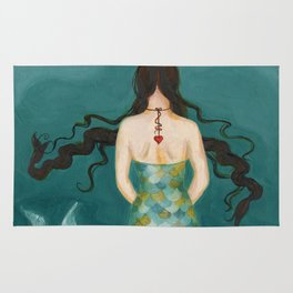 Mermaid Girl in the Midway, or She Knows Without Knowing Rug