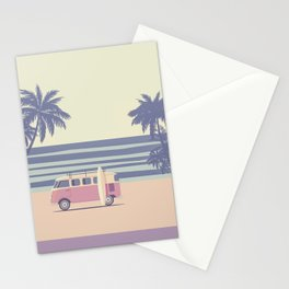 Surfer Graphic Beach Palm-Tree Camper-Van II Stationery Cards
