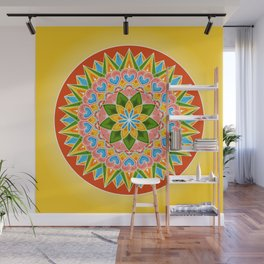 Costa Rica Folk Pattern – Decorated painting wheel of coffee ox cart Wall Mural