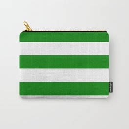 Horizontal Stripes - White and Green Carry-All Pouch