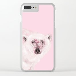 Polar Bear in Pink Clear iPhone Case
