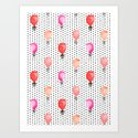 Balloons painted in watercolor on polka dots pattern minimal valentines love gifts by charlottewinter