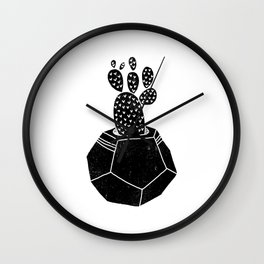 Geometric Cactus planter house plant linocut plant lady black and white hipster plants Wall Clock
