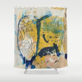 blue cat home Shower Curtain