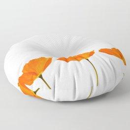 Three Orange Poppy Flowers White Background #decor #society6 #buyart Floor Pillow