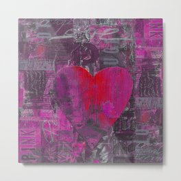 Passion Pink Purple Heart Mixed Media Art Metal Print