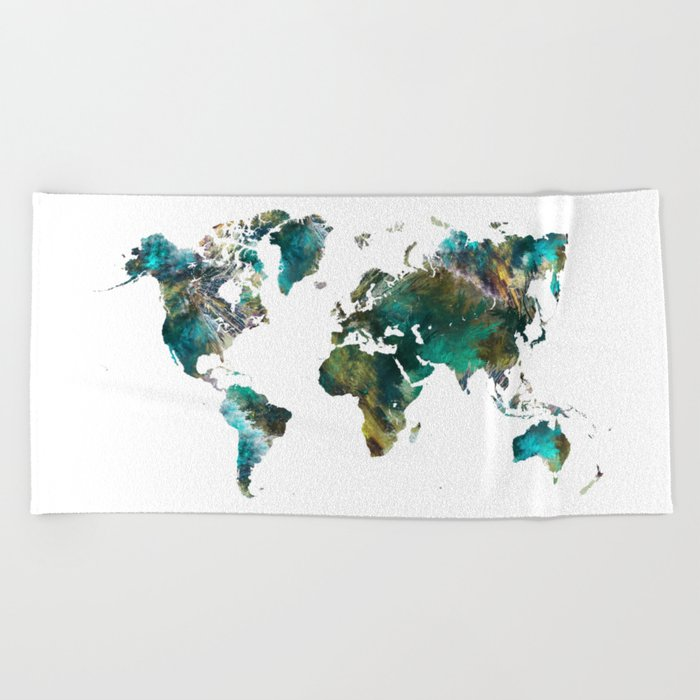 Map Of The World Tree Map World Beach Towel By Jbjart Society6