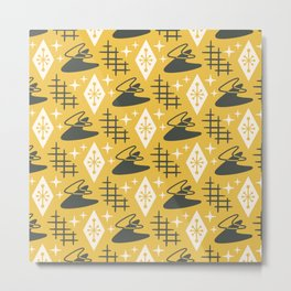 Mid Century Modern Space Age Boomerang Pattern 375 Gray and Yellow Metal Print
