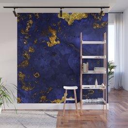Gold Blue Indigo Malachite Marble Wall Mural