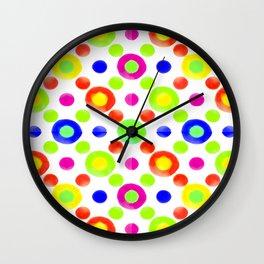Multicolored Circles Motif Pattern Wall Clock