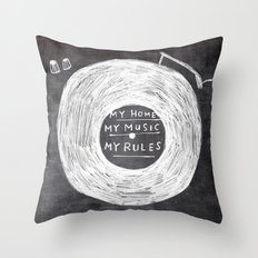 my home, my music, my rules Throw Pillow