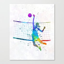 Woman volleyball player in watercolor Canvas Print