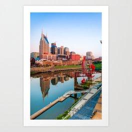 Nashville Tennessee Skyline Along the Cumberland Art Print