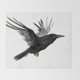 Raven, Flying Raven, Tribal Raven, Crow art black and white Throw Blanket