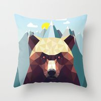 mountain Throw Pillows featuring Bear Mountain  by Davies Babies