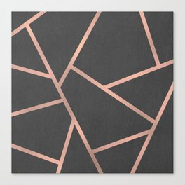 Dark Grey and Rose Gold Textured Fragments - Geometric Design Canvas Print