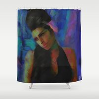 amy hamilton Shower Curtains featuring Amy by Darla Designs