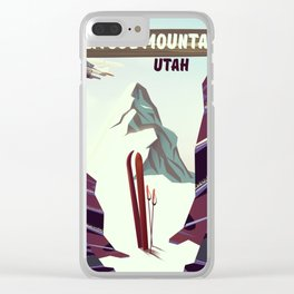 Solitude Mountain Utah Ski vacation poster. Clear iPhone Case