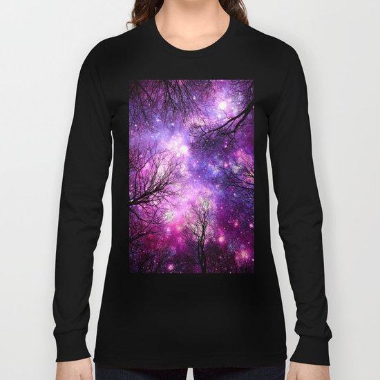 black trees fuchsia purple space Long Sleeve T-shirt