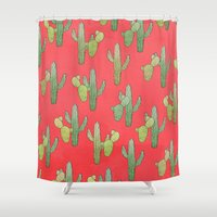 cacti Shower Curtains featuring Cacti by Megan Dignan