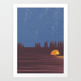 Camping under the Stars Art Print