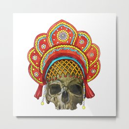 Watercolor human skull in a cocochus Metal Print
