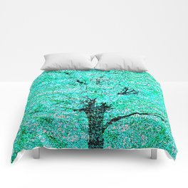 Trees Green Misty Comforters