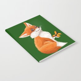 Cute fox playing with a butterfly Notebook