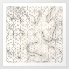 Gold Geometric Pattern on Marble Texture Art Print