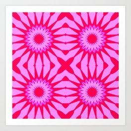 Fuchsia Pink Flowers Mandala Art Print