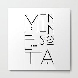 Minnesota Typography Metal Print