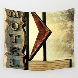 Vintage Arrow Motel Sign Wall Tapestry