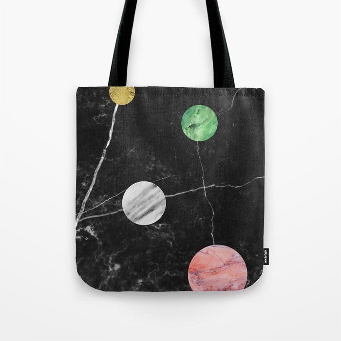 Black Marble with Polka Dots Tote Bag