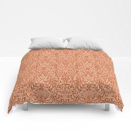 Art Nouveau Floral Damask, Light Mandarin Orange Comforters