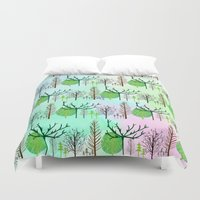 woodland Duvet Covers featuring Woodland  by Yaz Raja Designs