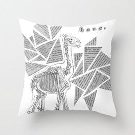 Skeletal Giraffe Throw Pillow