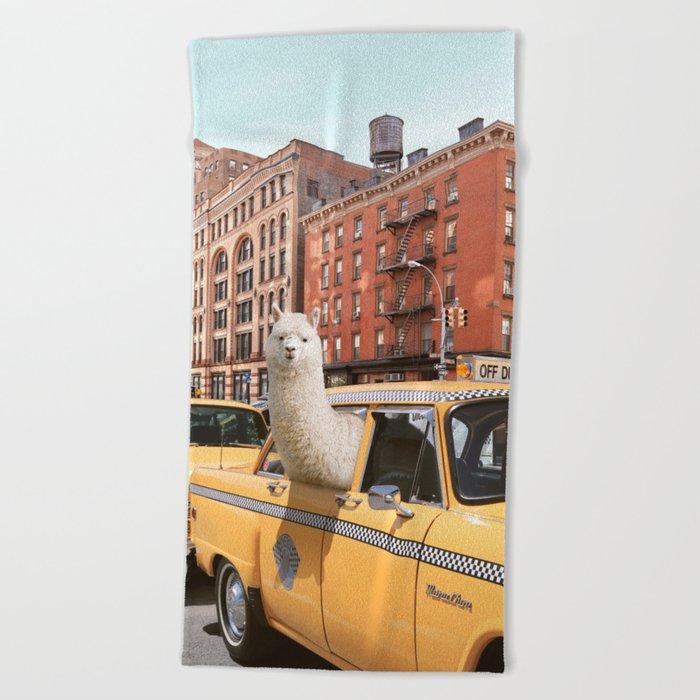 Alpaca in New York Beach Towel