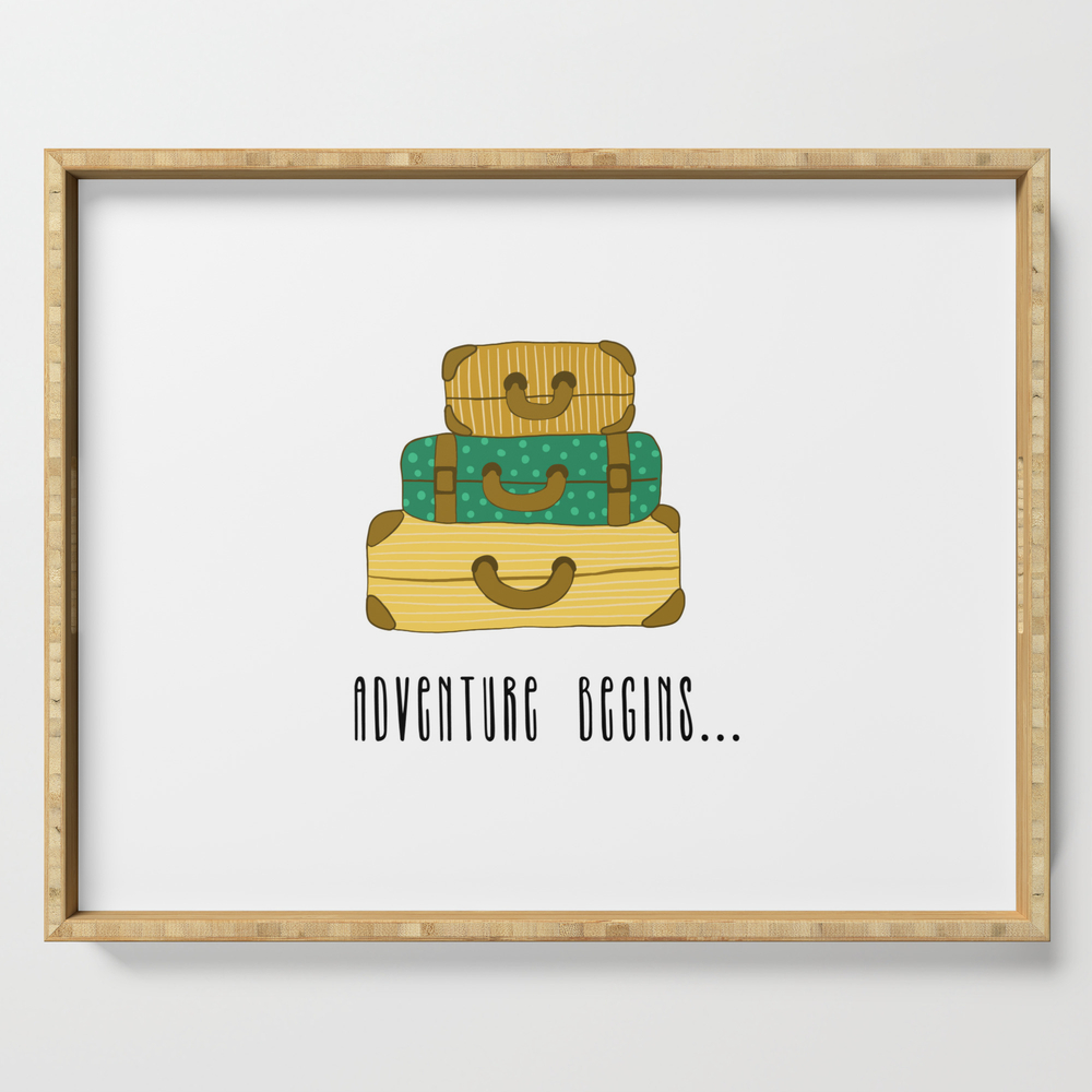 Adventure Begins, Suitcases Are Packed Serving Tray by bigmomentsdesign