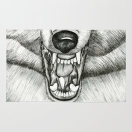 Pencil Drawing - Wolf Growl Rug