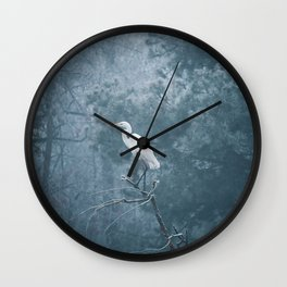 Snow Crane Wall Clock