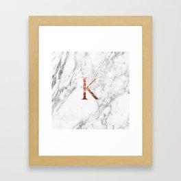 Monogram rose gold marble K Framed Art Print