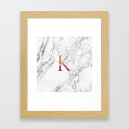 Monogram rose gold marble K Framed Art Print