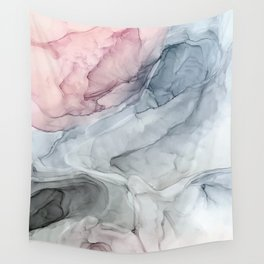 Pastel Blush, Grey and Blue Ink Clouds Painting Wall Tapestry
