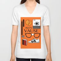 alex vause V-neck T-shirts featuring Alex Vause Poster by Zharaoh