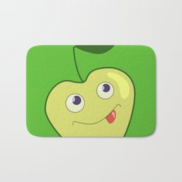 Cute Smiling Green Cartoon Apple Bath Mat