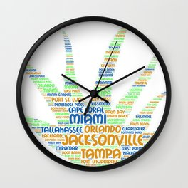 Alove Vera Plant illustrated with cities of Florida State Wall Clock