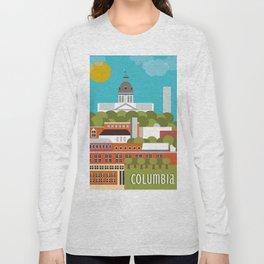 Columbia, South Carolina - Skyline Illustration by Loose Petals Long Sleeve T-shirt