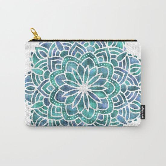 Mandala Succulent Blue Green Carry-All Pouch