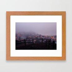 Foggy fences. Framed Art Print