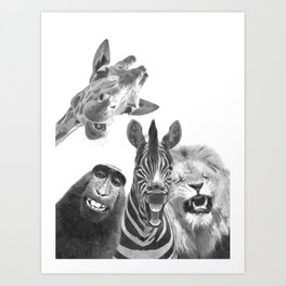 Black and White Jungle Animal Friends Art Print